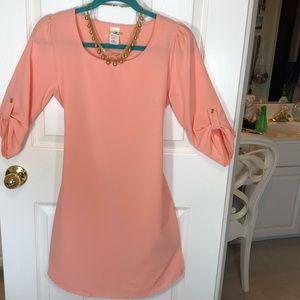 Brenda's Small Solid Flame Peach colored Dress